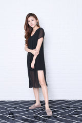 *RESTOCKED* PEYTON CHIFFON OVERLAY DRESS IN BLACK