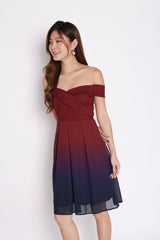(PREMIUM) BELLA OMBRE SKATER DRESS (BURGUNDY/ NAVY)