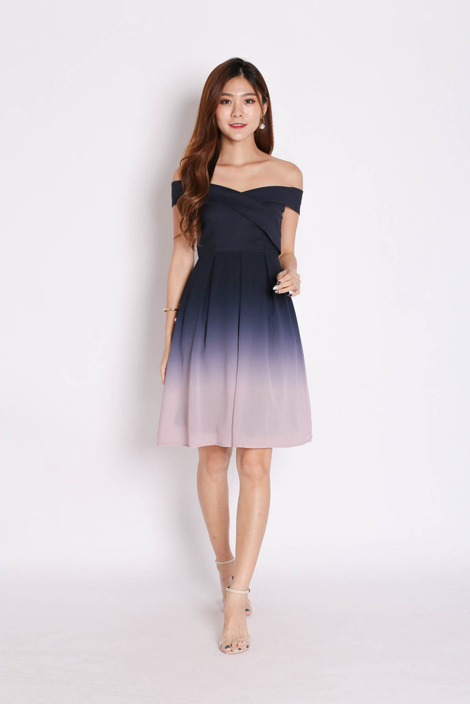 (PREMIUM) BELLA OMBRE SKATER DRESS (NAVY/ PINK) - TOPAZETTE