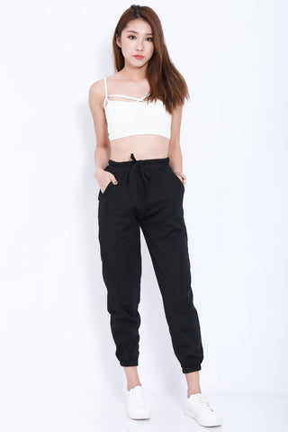 JOGGER PANTS IN BLACK - TOPAZETTE