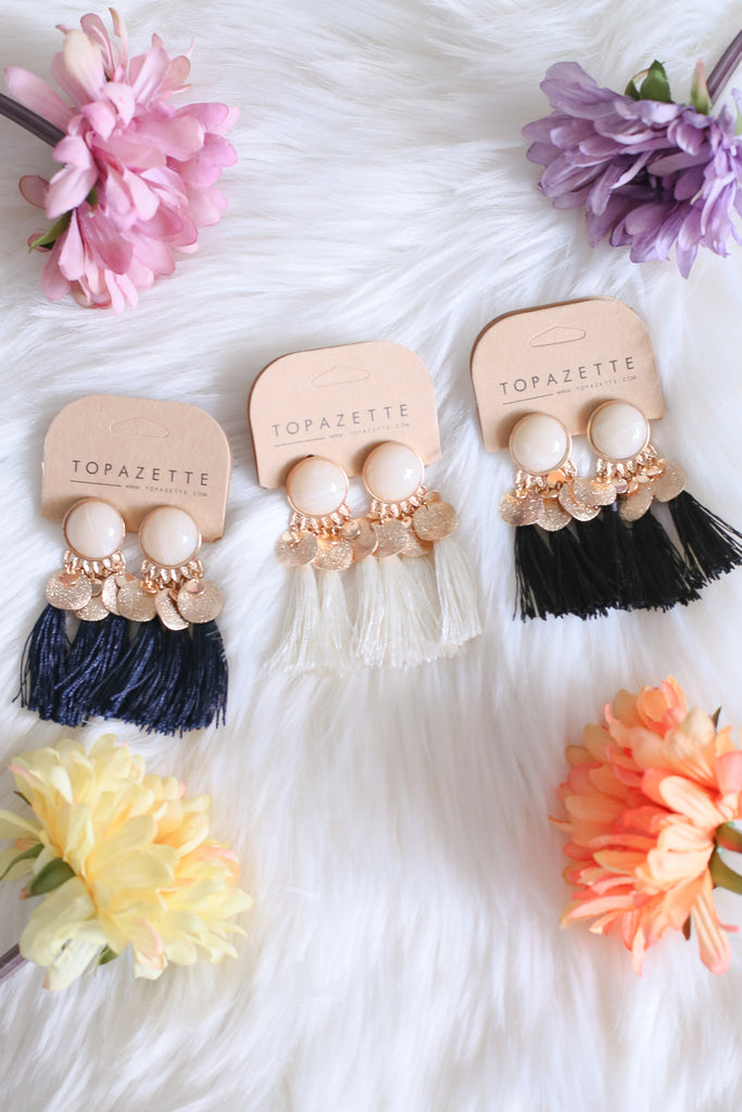 GREEK VINTAGE PEARL X TASSELS EARRINGS