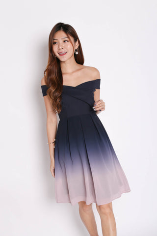 (PREMIUM) BELLA OMBRE SKATER DRESS (NAVY/ PINK)