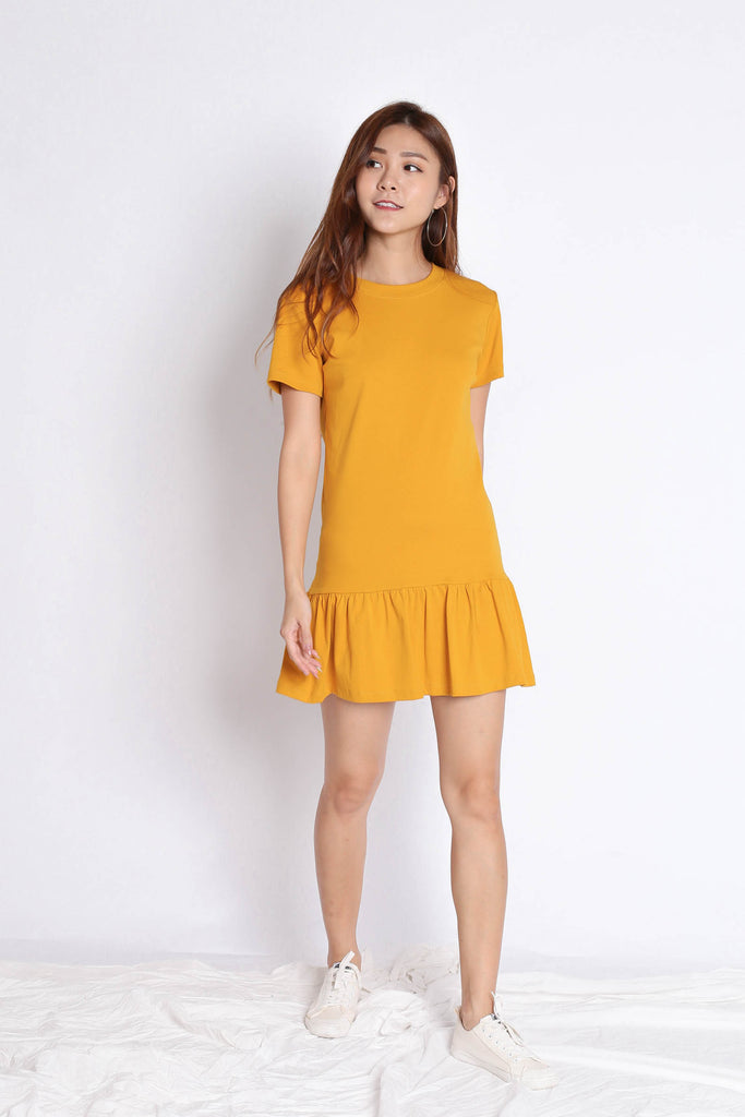 *BACKORDER* BASIC COTTON DROP WAIST DRESS IN MARIGOLD - TOPAZETTE