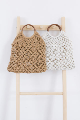 *BACKORDER* KNIT WOVEN HANDLE BAG