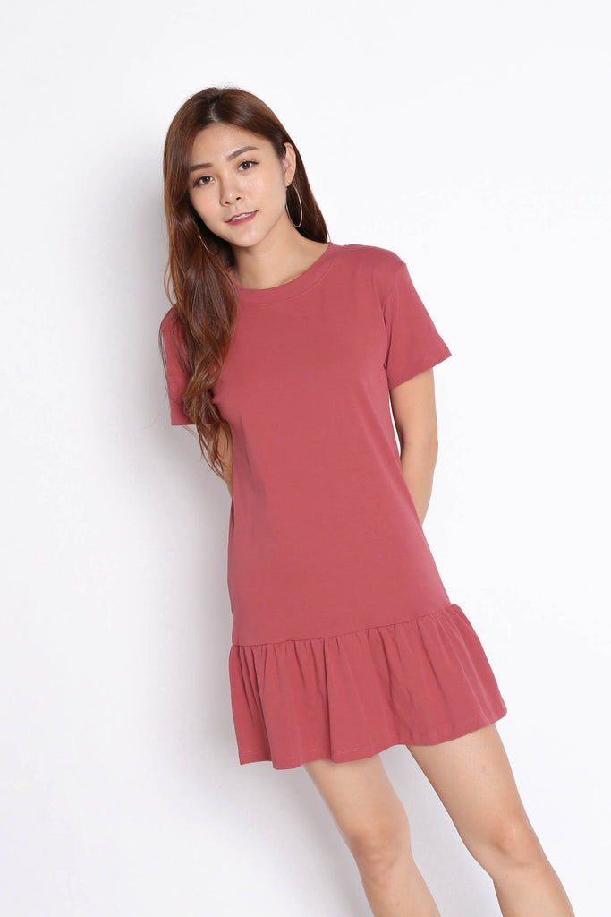 *BACKORDER* BASIC COTTON DROP WAIST DRESS IN TEA ROSE - TOPAZETTE