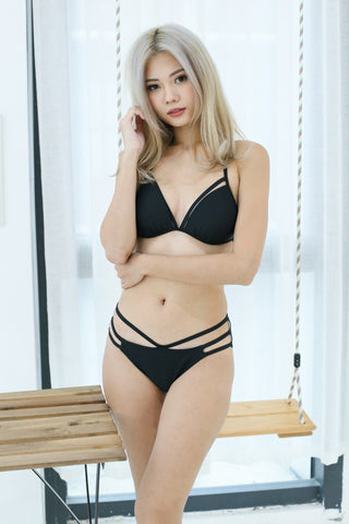 *BACKORDER* BOARDWALK STRAPPY BIKINI SET (BLACK)