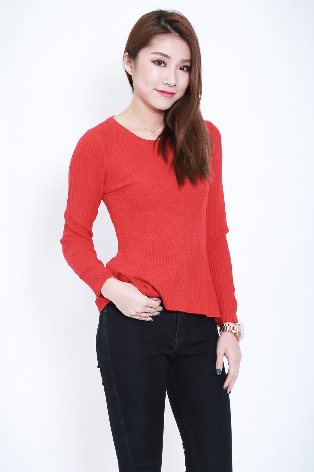 RIBBED KNIT PEPLUM TOP IN RED