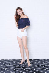 VEDA EMBROIDERY TOP IN NAVY