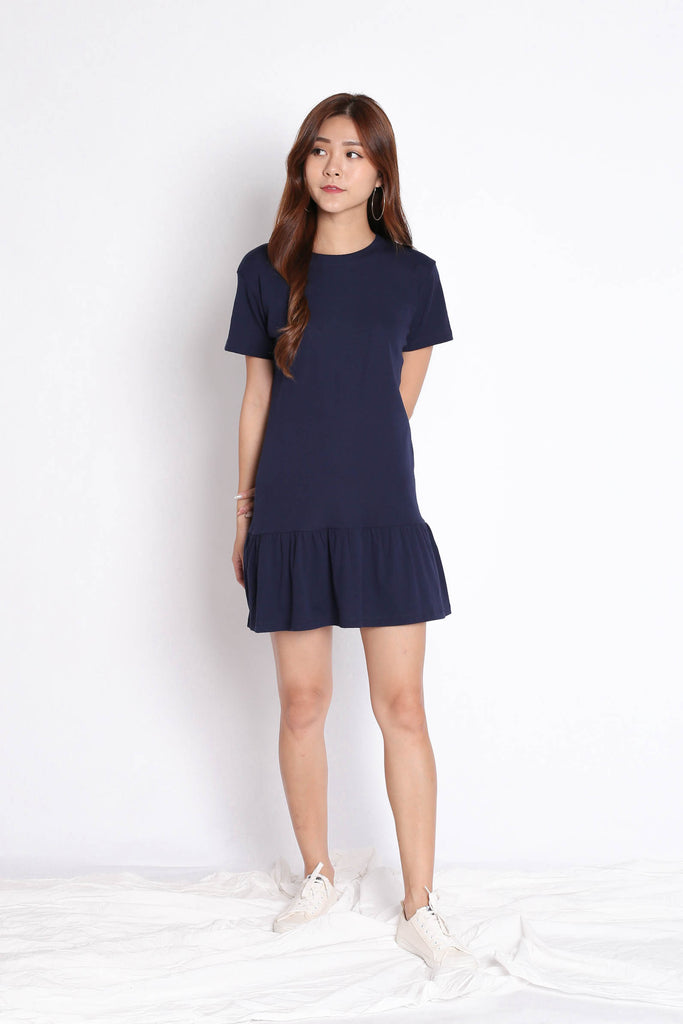 *BACKORDER* BASIC COTTON DROP WAIST DRESS IN NAVY - TOPAZETTE