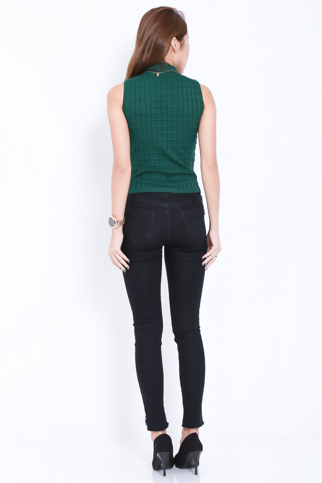 (RESTOCKED) HIGH CHECKS KNIT TOP IN FOREST - TOPAZETTE