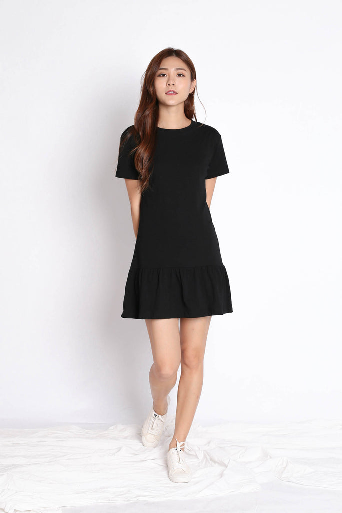 *BACKORDER* BASIC COTTON DROP WAIST DRESS IN BLACK - TOPAZETTE