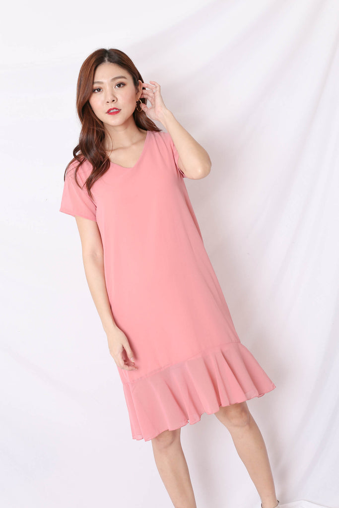 BASIC RUFFLES SLEEVED DRESS IN PINK