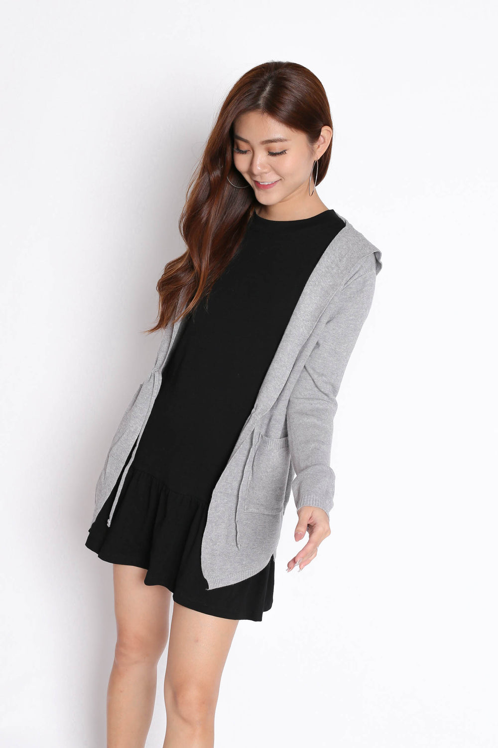 BRAE SOFT KNIT CARDIGAN IN LIGHT GREY