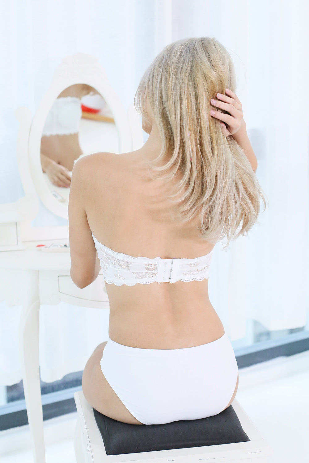 *RESTOCKED* KEIRA FULL LACE TUBE HOOKED BRA IN WHITE - TOPAZETTE