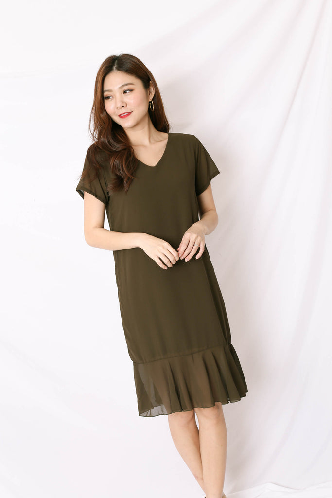 BASIC RUFFLES SLEEVED DRESS IN OLIVE