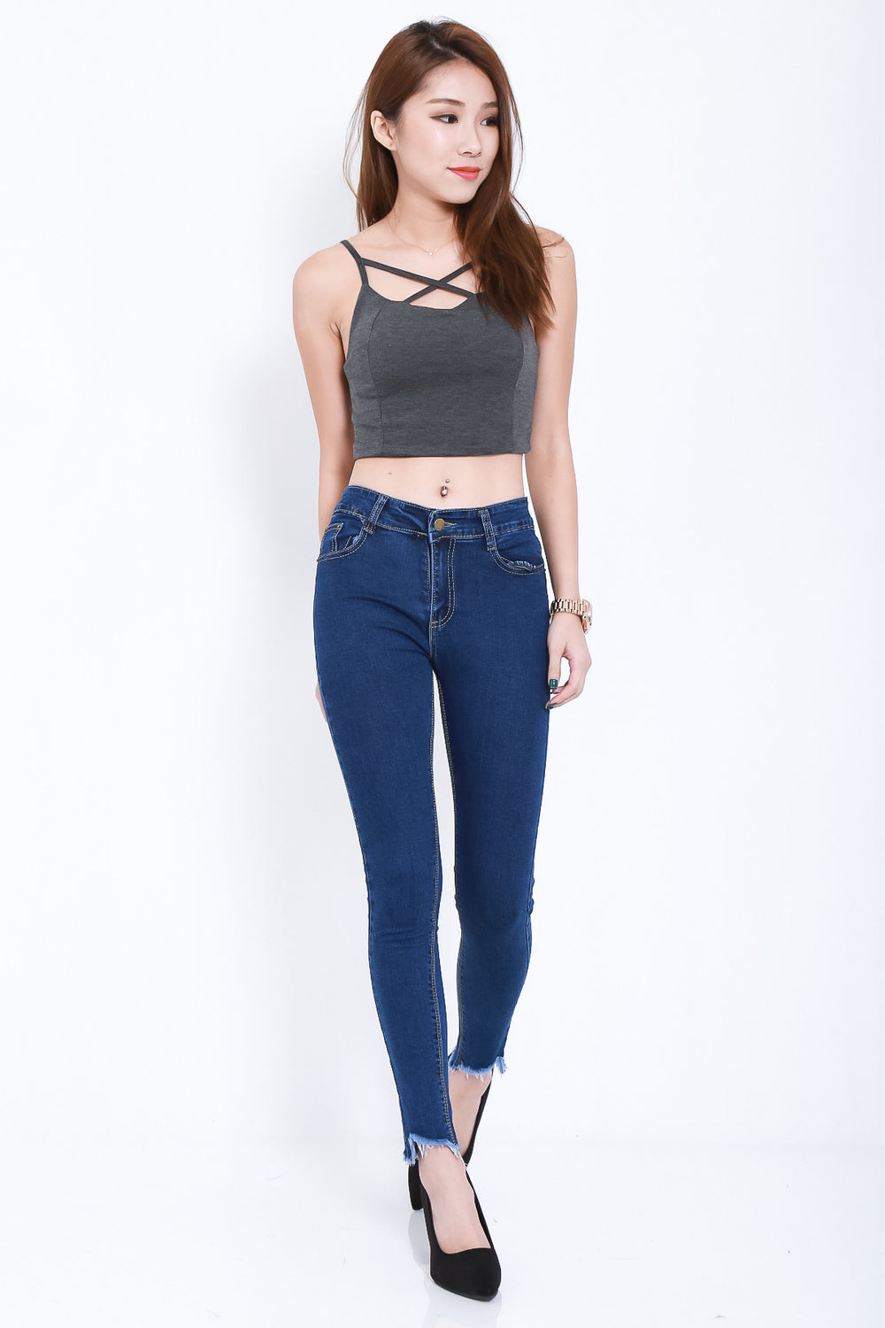 (RESTOCKED) EDNA TOP IN DARK GREY - TOPAZETTE