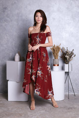LEDA FLORAL MAXI DRESS IN WINE