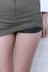RING UP FITTED DENIM SKORTS IN ARMY GREEN