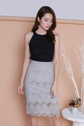 ETTA LACE MIDI SKIRT IN GREY