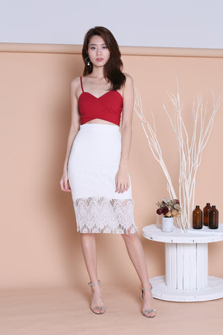 ETTA LACE MIDI SKIRT IN WHITE