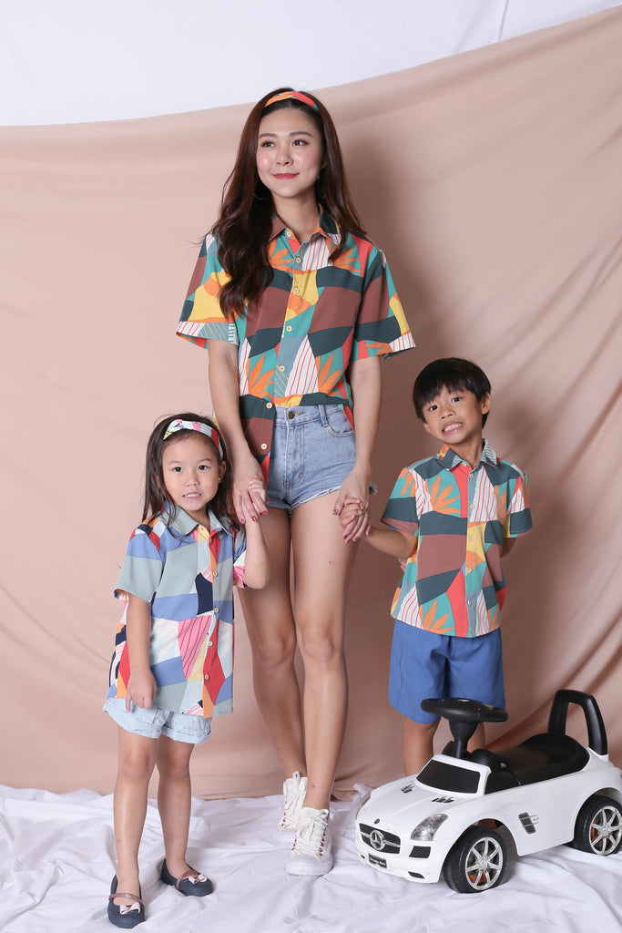 *LITTLE TOPAZETTE* THE COLOURFUL ABSTRACT UNISEX SHIRT (VERSION 2) GREEN/ BROWN - TOPAZETTE