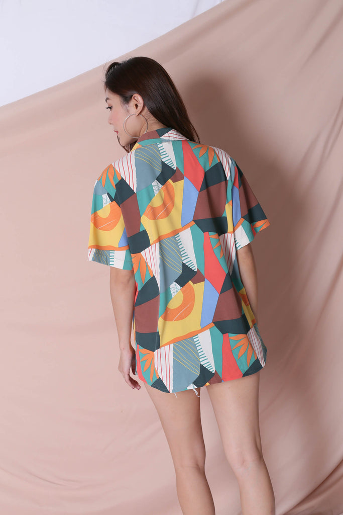 (PREMIUM) COLOURFUL ABSTRACT UNISEX SHIRT (VERSION 2) GREEN/ BROWN - TOPAZETTE