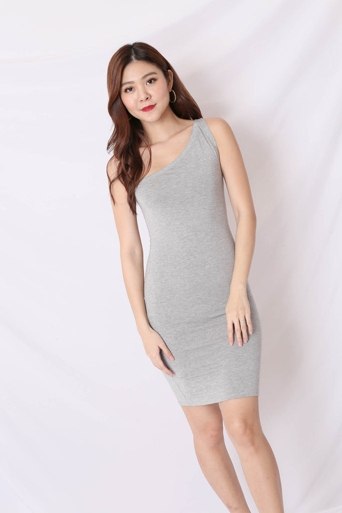 BASIC TOGA BODYCON DRESS IN GREY