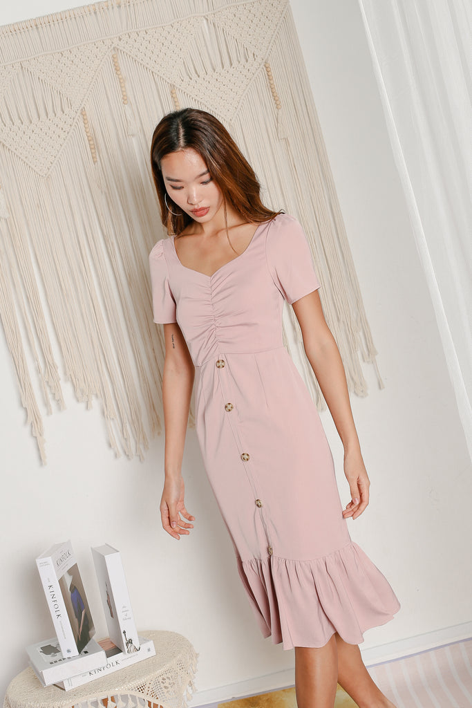 *TPZ* CALISTA RUCHED MIDI DRESS IN DUSTY PINK
