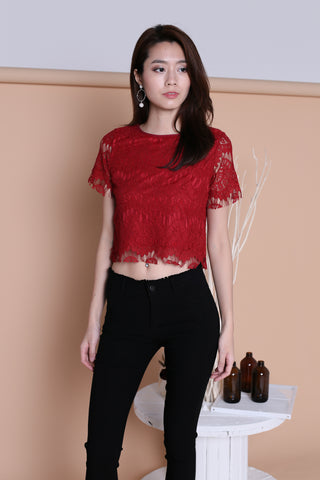 EVIE SLEEVED LACE TOP IN CRIMSON