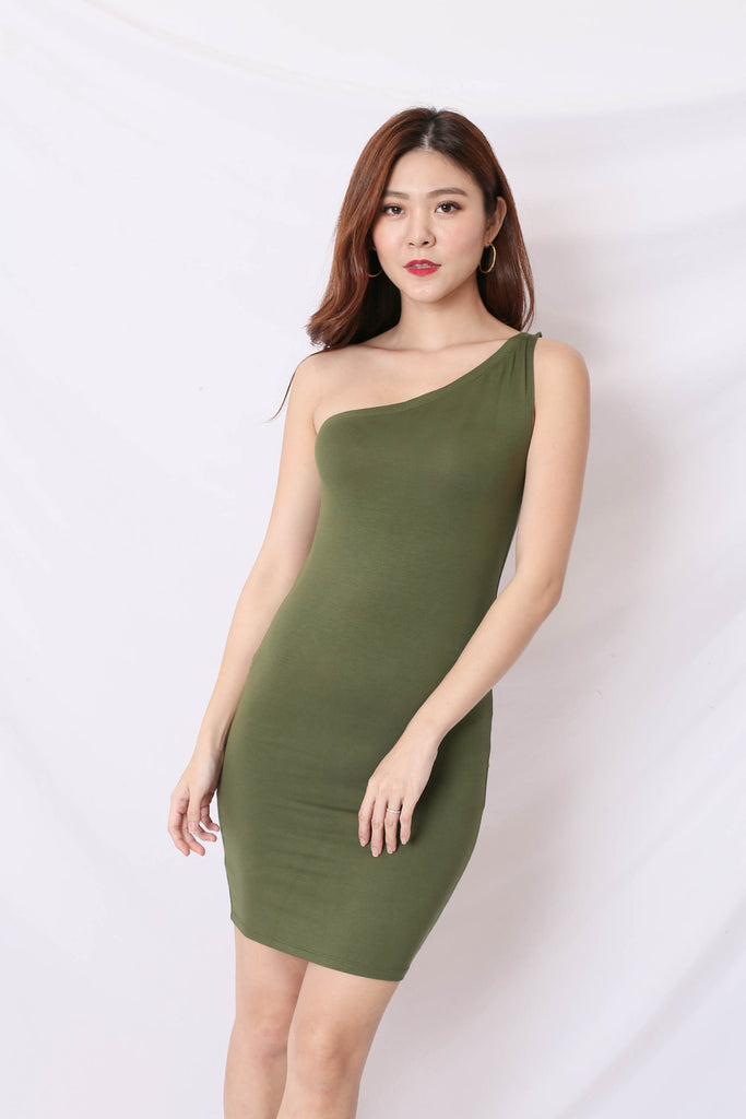 BASIC TOGA BODYCON DRESS IN ARMY GREEN