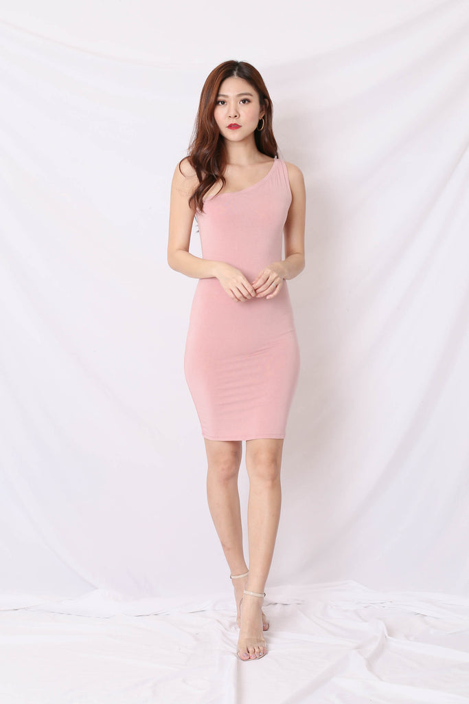 BASIC TOGA BODYCON DRESS IN PINK