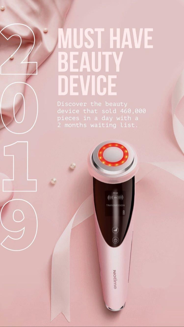 NOTIME FACE IONISER DEVICE IN PINK - TOPAZETTE