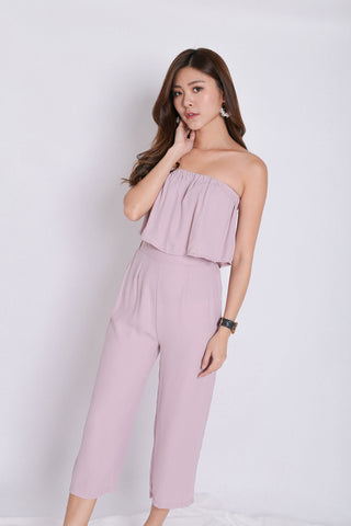 PIERRE STRIPES 2 PC TOP AND CULOTTES SET IN DUSTY PINK