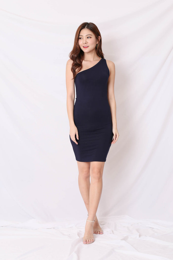 BASIC TOGA BODYCON DRESS IN NAVY