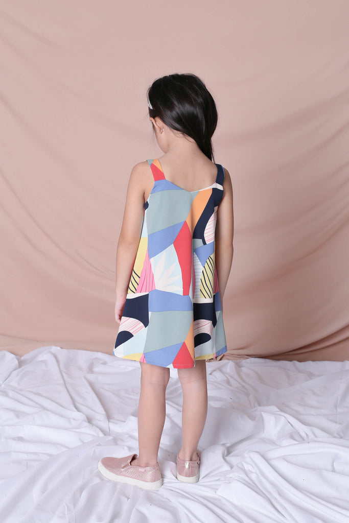 *LITTLE TOPAZETTE* THE COLOURFUL ABSTRACT 2 WAY TRAPEZE DRESS (VERSION 1) BLUE/ PINK - TOPAZETTE