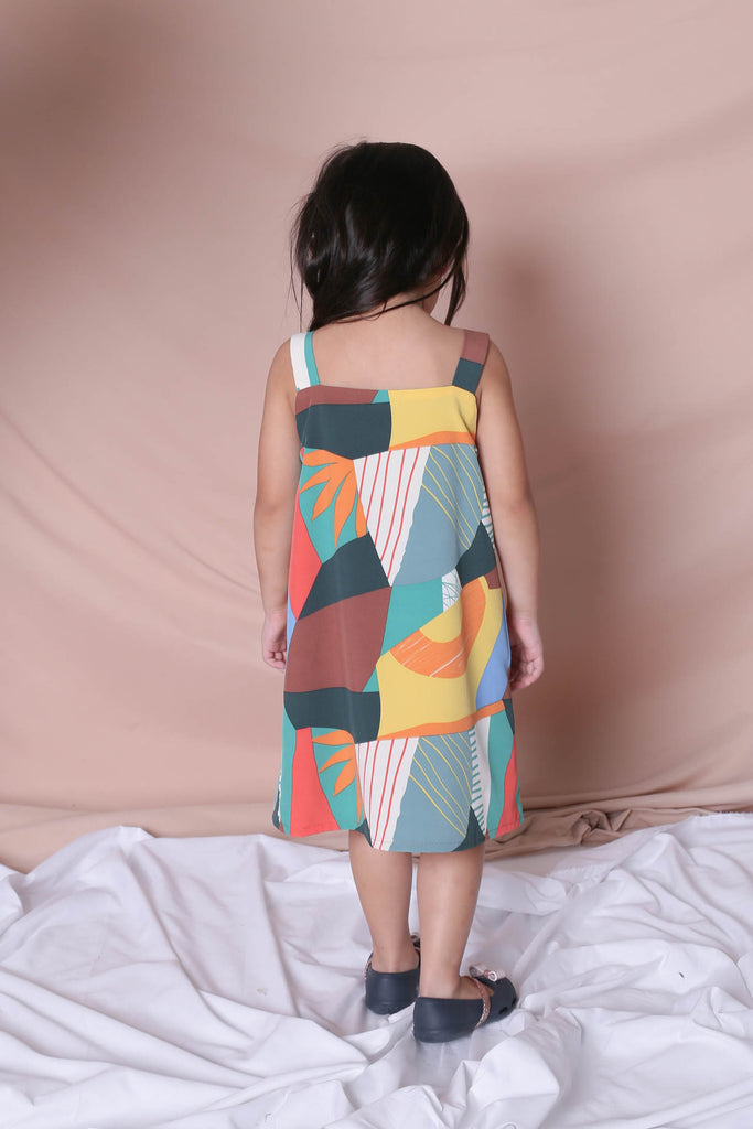 *LITTLE TOPAZETTE* THE COLOURFUL ABSTRACT 2 WAY TRAPEZE DRESS (VERSION 2) GREEN/ BROWN - TOPAZETTE