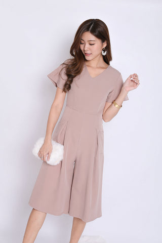 *TPZ* (PREMIUM) MIFFY POCKET CULOTTES JUMPSUIT IN TAUPE