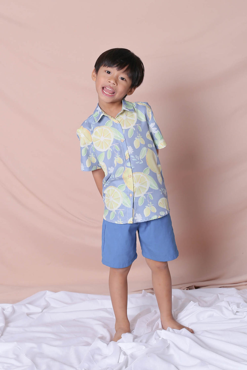 *LITTLE TOPAZETTE* LEMON SQUEEZY UNISEX SHIRT IN BLUE
