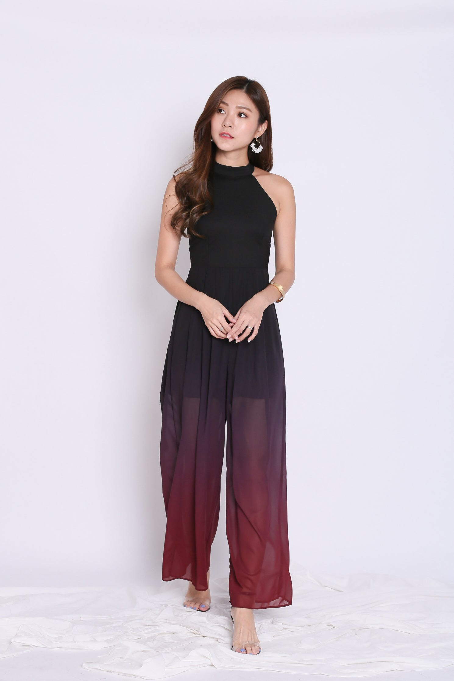fd5963723ace  TPZ  (PREMIUM) ENCHANTEUR OMBRE JUMPSUIT (BLACK  BURGUNDY) – TOPAZETTE
