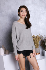 *RESTOCKED* ADELE TWISTED KNIT TOP IN GREY
