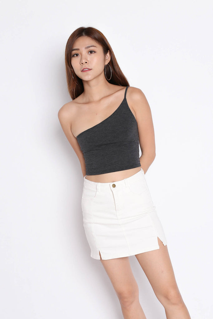 CARINS DENIM SKIRT IN OFF WHITE - TOPAZETTE