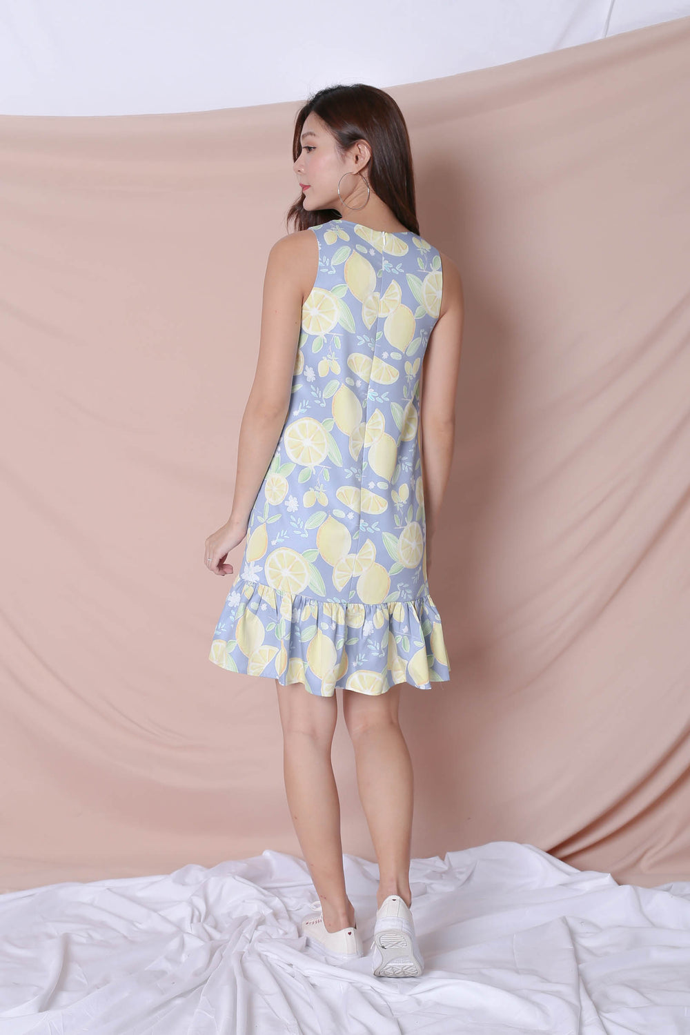 (BACKORDER) *TPZ* (PREMIUM) LEMON SQUEEZY DROP WAIST DRESS IN BLUE