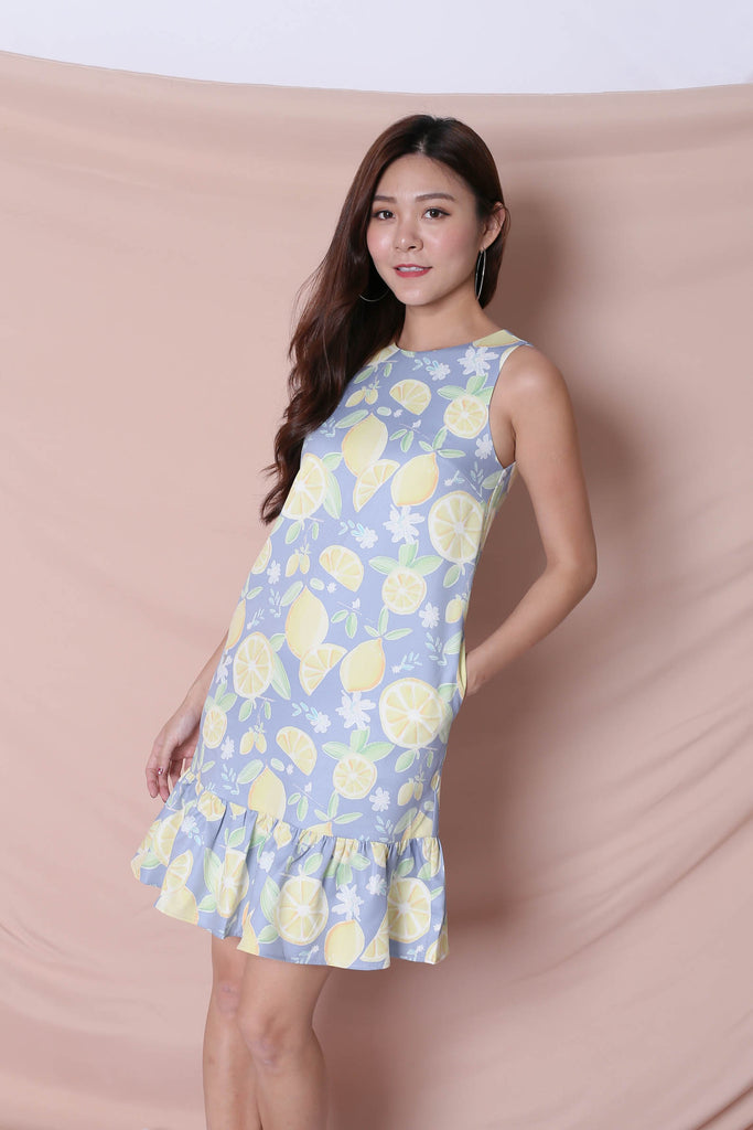 (BACKORDER) *TPZ* (PREMIUM) LEMON SQUEEZY DROP WAIST DRESS IN BLUE - TOPAZETTE