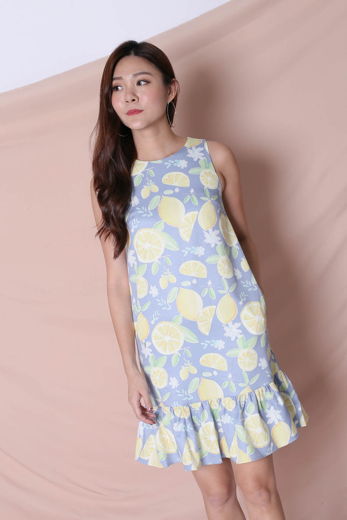 *TPZ* (PREMIUM) LEMON SQUEEZY DROP WAIST DRESS IN BLUE