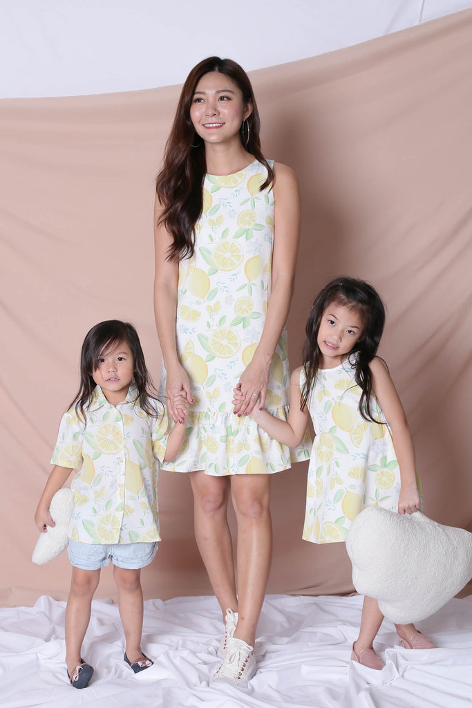 *LITTLE TOPAZETTE* LEMON SQUEEZY TRAPEZE DRESS IN WHITE