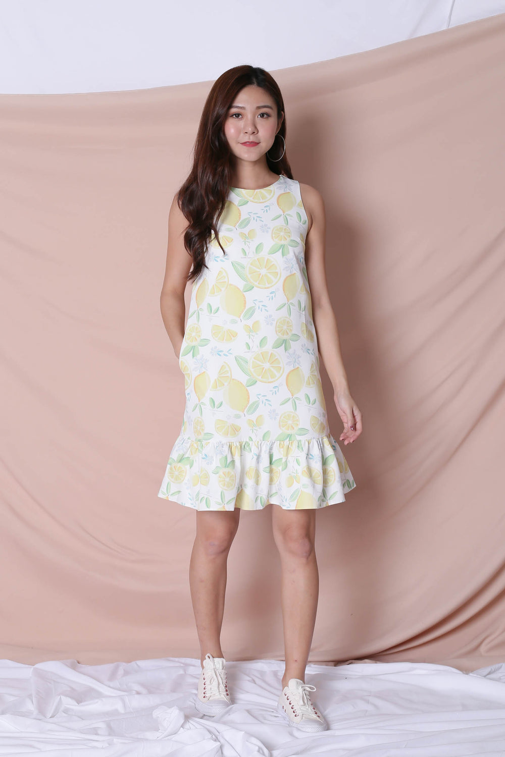 *TPZ* (PREMIUM) LEMON SQUEEZY DROP WAIST DRESS IN WHITE