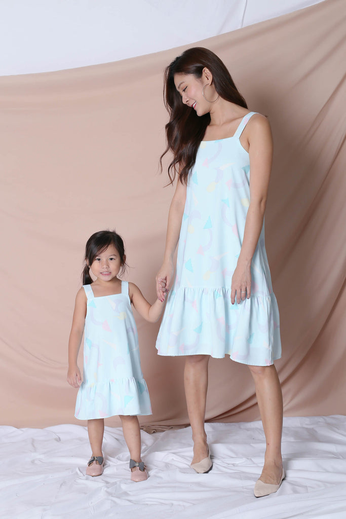 *LITTLE TOPAZETTE* PASTEL UNICORN RUFFLE 2 WAY DRESS IN MINT PASTEL - TOPAZETTE