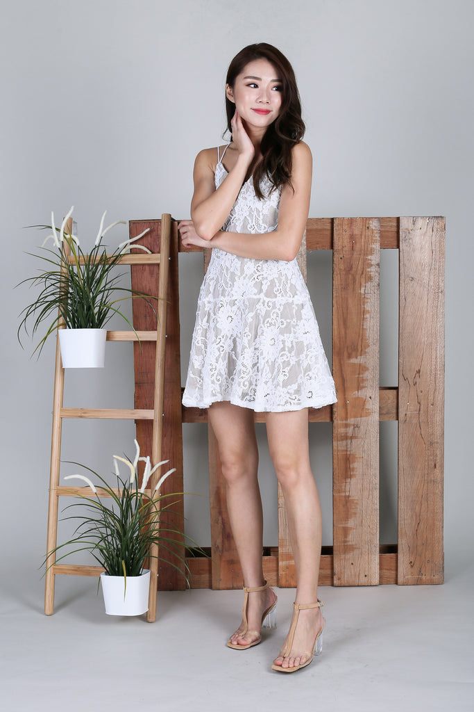 *RESTOCKED* (TOPAZ) *PREMIUM* BEXLEY LACE DRESS IN WHITE - TOPAZETTE