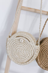 *BACKORDER* CLASSIC ROUND RATTAN SLING BAG (SMALL)