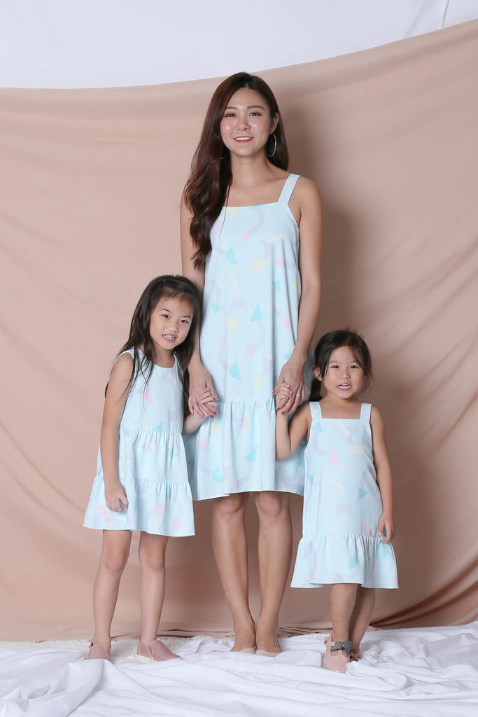 *LITTLE TOPAZETTE* PASTEL UNICORN BABYDOLL TIERED DRESS IN MINT PASTEL